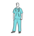 surgeon standing sketch hand drawn vector image vector image