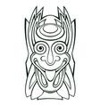 tiki idol mask line art vector image vector image