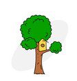 tree with birdhouse vector image vector image