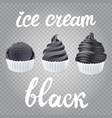 trendy food black set of ice cream scoops poster vector image vector image