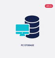 two color pc storage icon from computer concept vector image vector image