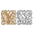 vintage initial letter y with baroque decoration vector image vector image