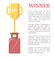winner golden trophy cup vector image vector image