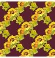 Sunflower garland seamless pattern on dark vector image