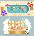 sauna and swimming pool flat spa relax or vector image