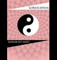 jin jang symbol on pink textured background book vector image