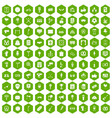100 events icons hexagon green vector image vector image