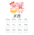 2019 pig year monthly calendar vector image vector image