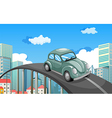 A car travelling at the road in the city vector image vector image