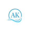 ak lettering logo design in water wave modern