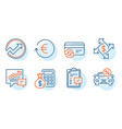 audit payment exchange and change card icons set
