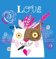 beautiful love cat with a red heart vector image vector image
