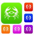 big crab set color collection vector image vector image