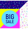 big sale abstract background neon memphis style vector image