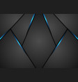 black abstract tech background with blue light vector image vector image