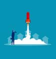 businessman launches rocket concept business vector image