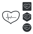 Cardiology icon set monochrome vector image vector image