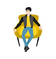 cartoon man sitting at armchair resting vector image vector image