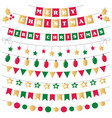 christmas decoration in green red and gold vector image