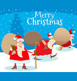 christmas design with cartoon santa claus and vector image