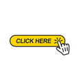 click here button with hand pointer clicking vector image vector image