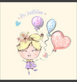 cute little blond girl flying with balloons vector image