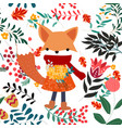 cute sweet pink and floral flower and fox girl vector image vector image