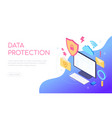 data protection - modern colorful isometric web vector image