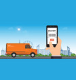 delivery service app on smart phone vector image vector image
