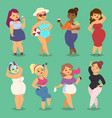 fatty cartoon woman girl character people vector image