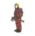 firefighter standing with big axe vector image