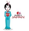 girl japanese kimono welcome japan icon vector image vector image