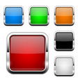 glass buttons shiny square colored 3d web icons vector image vector image