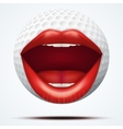 Golf ball with a talking female mouth vector image vector image
