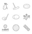 golf equipment icons set outline style vector image vector image