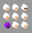 grandmother set emoji avatar sad and angry face vector image
