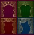 greeting cards golden frames set vintage design vector image vector image
