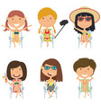 happy female characters sitting on deck chair vector image vector image