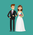 happy newlyweds or bride and groom wedding vector image vector image