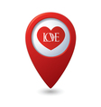 Heart icon with love on the red map pointer vector image vector image