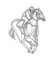 horse racing jockey doodle art vector image vector image