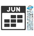June Calendar Page Flat Icon With Bonus vector image vector image