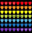 love text rainbow heart set gay flag color vector image