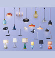 modern lamps home illumination chandeliers vector image