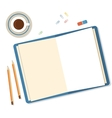 Open book pencils and clips icolated on white vector image vector image