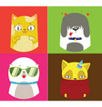 pattern of four dogs and cats vector image vector image