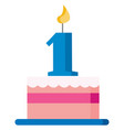 pink cake to celebrate first birthday or color vector image