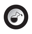 round black white button icon flask with a drop vector image