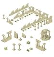 ruins city walls columns and gazebos vector image