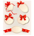 set beautiful tags with red gift bows vector image